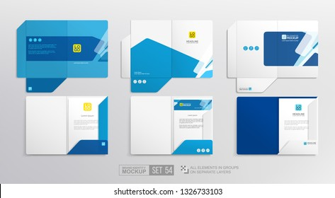 Stationary A4 Folder Branding Identity Mockup set with Abstract geometric design and logo template.  Letterhead design and Document Open Folder set for corporate identity presentation. Vector template
