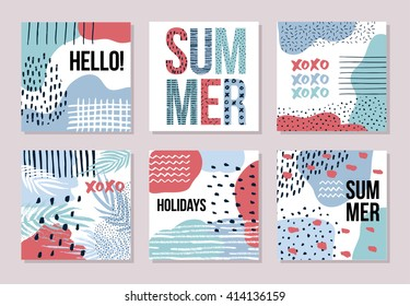 Stationary collection of vector summer card templates for your design. Hand drawn artistic background with dots, splotches and lines for print and web projects. Modern creative paper design.