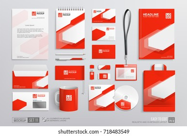 Stationary Corporate Brand Identity Mockup with set Red and white abstract design. Mock-Up template of guide cover, brochure, corporate red mug, flag, letterhead and Stationery elements