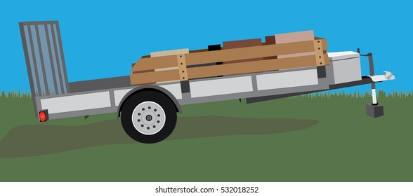 stationary equipment or utility trailer vector illustration with cargo inside on a colorful outdoor background