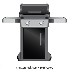 Stationary grill with shelves for inventory. Vector illustration.