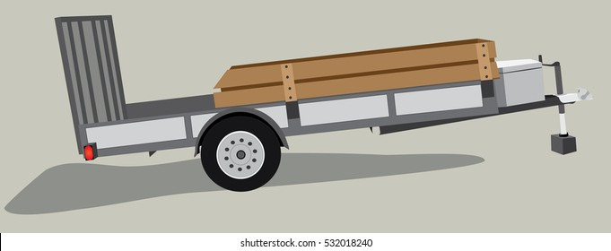 Stationary isolated equipment or utility trailer vector illustration on neutral background