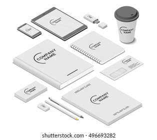 Stationery and accessories mock-up with template logo. Branding design. Mobile app, flash drive, book, paper cup, writing pad, cards, envelope, leaflets, pen, pencil and eraser. Isometric illustration