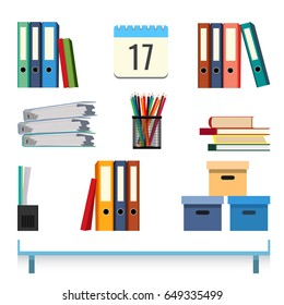 Stationery accessories on the table vector illustration. Folders with documents
