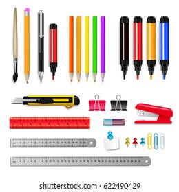 Stationery assortment set of rulers pencils markers and other items isolated on white background realistic vector illustration