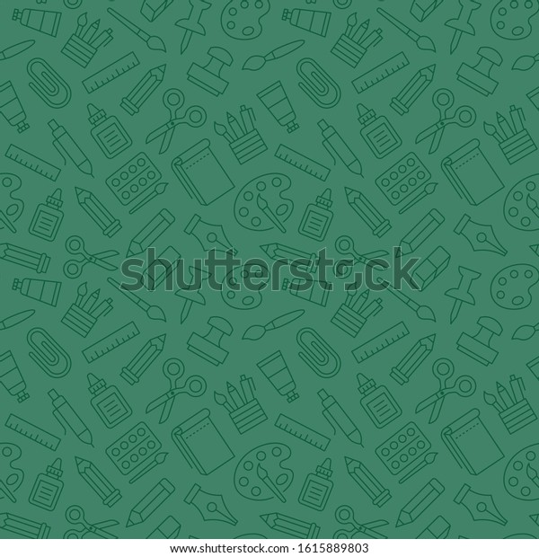 Stationery Background School Tools Seamless Pattern Stock Vector Royalty Free 1615889803
