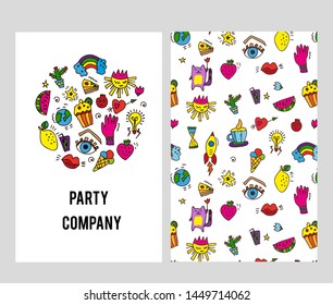 Stationery cards set for the company with parties organization. Vector graphic illustration