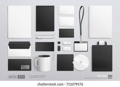 Stationery Corporate Brand Identity Mockup set. Realistic Business Black Stationery mockup for corporate identity template. Office mock-up set of flag, paper bag, white mug, notepad, envelope,