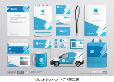 Stationery Corporate Brand Identity Mockup set with blue and white abstract geometric design.  Business stationary mockup template of Guide, annual report cover, van, brochure, bag, corporate mug