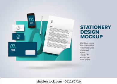 Stationery corporate identity design mock up vector