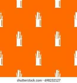 Stationery in cup pattern repeat seamless in orange color for any design. Vector geometric illustration