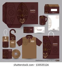 Stationery design set in vector format, African art.