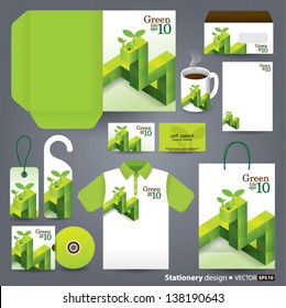 Stationery design set in vector format, Green concept, Save the world concept.