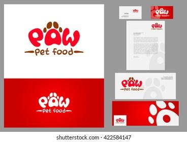 Stationery design set in vector format, pet care concept. Set folder documentation for business