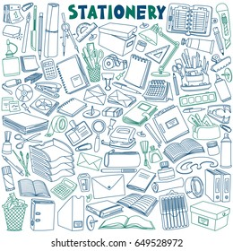 Stationery doodles set. School and office supplies. Vector illustration isolated on white background.