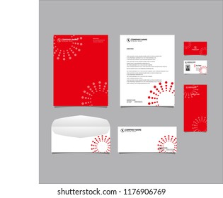 Stationery Editable Corporate identity template design with abstract dots circle red color. Business set branding eps 10