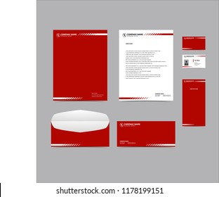 Stationery Editable Corporate identity template design red color. Business set branding eps 10