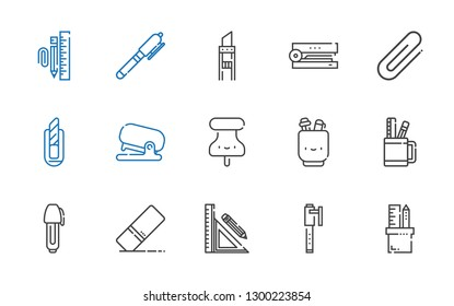 stationery icons set. Collection of stationery with pencil case, pen, eraser, pushpin, stapler, cutter, clip, stationary. Editable and scalable stationery icons.