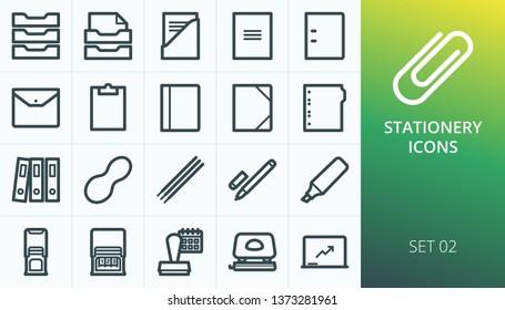 Stationery icons set. Set of file folder, document binder, pen marker, presentation magnetic board, dater and numering stamp, rubber band, finger wet sponge for casher, clipboard vectors icons.