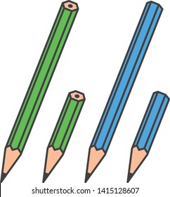 stationery. Image illustration of a long pencil and a short pencil