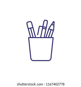 Stationery line icon. Pot with pencils and pens. Education concept. Can be used for topics like school supplies, classroom, office.