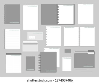 Stationery mockup set for corporate identity design. Notebooks, paper, folder, envelope, business card. Mock-up