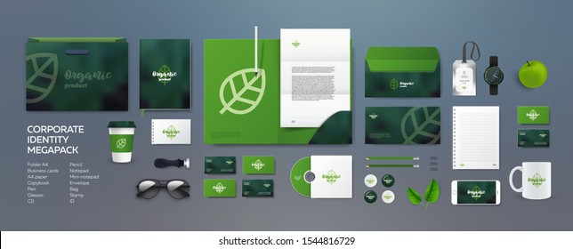 Stationery mockup vector megapack set. Corporate branding identity natural organic eco design. Template for vegan, flower shop or nature company. Folder and A4 letter, visiting card and envelope.