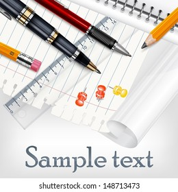 Stationery on white sheet for school, education vector illustration
