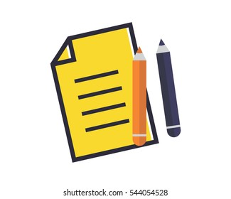 stationery paper utensil tool equipment school study college image vector icon logo