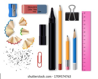 Stationery realistic design of school and office supplies vector design. 3d pencils, eraser, marker pen and sharpener, plastic ruler, paper and binder clips with pencil shavings and graphite