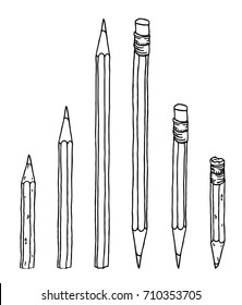 Stationery set hand drawn vector doodle illustration. Pencils collection in black contour isolated over white.