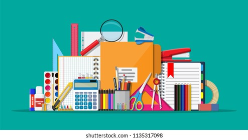 Stationery set icons. Book, notebook, ruler, knife, folder, pencil, pen, calculator, scissors, paint tape file Office supply school Office and education equipment Vector illustration flat style