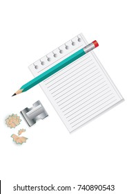 Stationery set - sheet is lined up for entries - pencil, sharpener with shavings - isolated on white background - vector