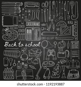 Stationery set in sketch doodle style on black board with pen, pencil, sketchbook, paints, brushes, ruler,  cases, globe, eraser,  camera, crayons,  palette, tubes, microscope, scissors, glue, lamp