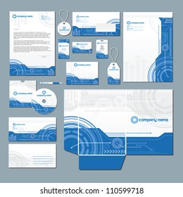 Stationery set with technology inspired illustration. All items are on separate layers for easy editing.