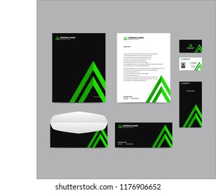 Stationery Simple Editable Corporate identity template design with triangle 3D logo green color. Business set branding eps 10