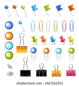 Stationery supply pins and clips isolated icons office items vector fastener and clamp pushpin and paperclip color devices needles, and flags paperwork student or secretary workplace equipment