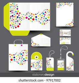 Stationery template design with card, cd and envelope in vector format