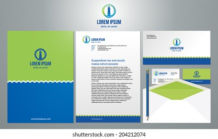 Stationery template design with lighthouse icon vector. Documentation for business.