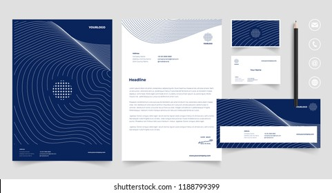 Stationery template with logo, Corporate, identity, company, branding, business card, envelope, letterhead, folder. Clean and modern style