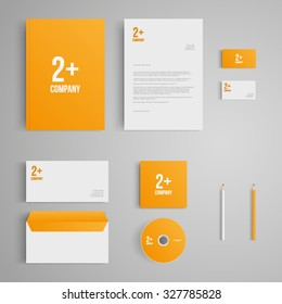 Stationery template with logo. Corporate, identity, company, branding, cd, business card, envelope, leaflet, letterhead, folder. Clean and modern style