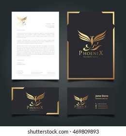 Stationery template, Phoenix Logo, Business Cards, Documentation for business with Luxury Design.