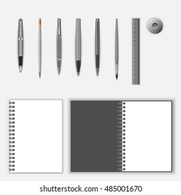 stationery template set. Vector realistic stationery mock up, isolated on white background. Vector Illustration. school and office supplies.
