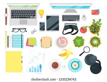 Stationery and various office things top view. Vector illustration.
