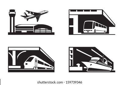 Stations of public transport in perspective - vector illustration