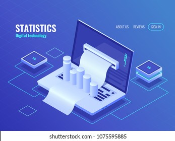 Statistic and analysis concept, data processing result, economic report, electron bill, billing system isometric vector laptop with receipt and chart