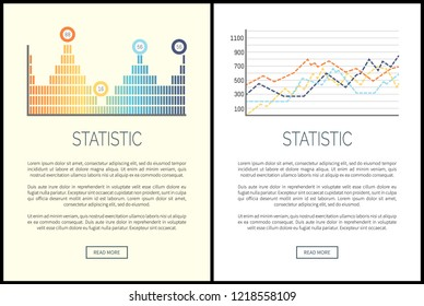 Statistic and analysis, flowcharts visualization of results vector. Schemes and numeric data, web with explanatory text. Presentation of business data