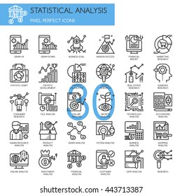 Statistical and Analysis , Thin Line and Pixel Perfect Icons