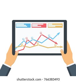 Statistical data presented in the form of digital graphs and charts on the tablet in the hands of a businessman. Financial analysis, statistics. Vector illustration, flat design. Statistics concept.