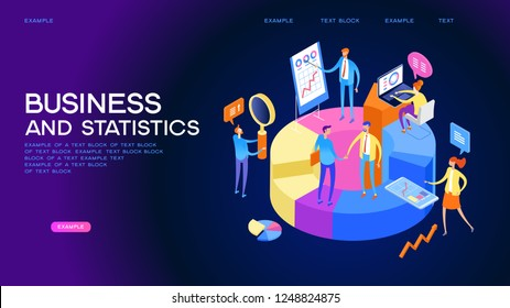 Statistics and analysis in business. The concept of financial management. Activities to study the structure of the market, market prices and their trends..3d isometric illustration
